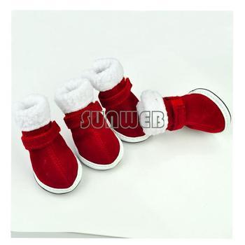 Pet Dog Shoes Puppy Cozy Boot Red Cute Chrismas Santa Puppy Pet Apparel free shopping 3374