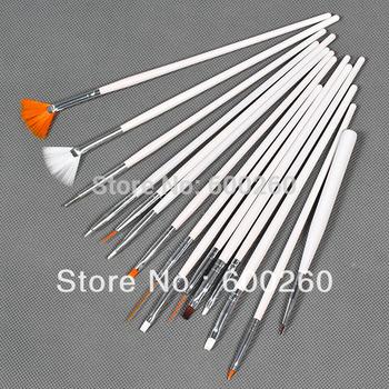 free shipping 15 pcs White Nail Art Brush Set Design Painting Nail art Pen #8260
