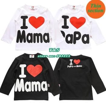 Spring autumn girls clothes, children t shirts baby boys i love papa mama shirt designer, thin section free shipping