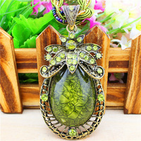 Vintage Look Antique Bronze Plated Multi Chain Crystal Flower Resin Bead Pendant Crystal Necklace N101