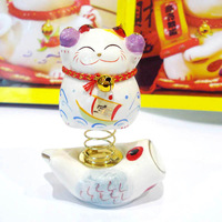 8.5cm cute mini spring ceramic maneki neko,lucky cat,fortune cat, wealthy cat,car inner decor,desk display,53234