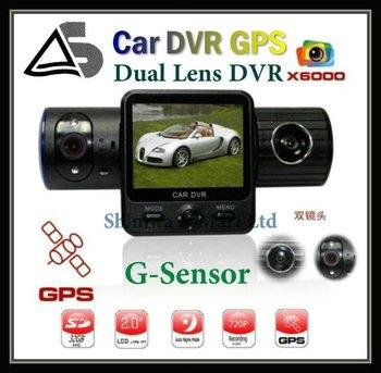 5.0 Mega 1280*480 Full HD Car DVR , Car Black Box X6000 with Dual Lens / G-Sensor / GPS / IR Light ! Free shipping
