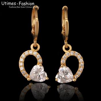 Lead and Nickel Free 18K Golden Heart Drop Earring Women with Sunshine Zircon