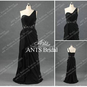 One shoulder New Fashion Long Chiffon Evening Dress Black 2014 RE208