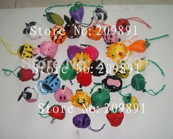 Mixed different styles sales! 20pcs/lot shopping foldable bag ,many fruit / animal / flower handle Bag in many colors available