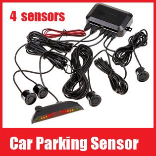 Car Parking Sensor Digital LED Display Parking Reverse Back up System Radar 4 Sensors/Heads Kit BiBi Sound Switch Free Shipping