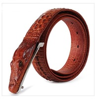 Christmas fashion men genuine leather belt with snake buckle,men/women real leather croco belt for jeans,crocodile belt for men