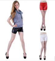 Women Black Faux Leather Hot Pants High Waisted Shorts Black /White/Red  Short Pants      3 Colors