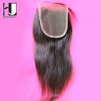 Free Part Lace Closure 4*4 Straight Bleached Knots Swiss Lace Closure Brazilian Hair Closure Shipping Free By DHL