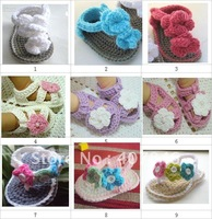 Baby crochet shoes cute infant handmade flower sandals double sole slippers cotton yarn 0-12M 14pairs/lot mix design custom