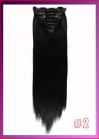 "22""(55cm) straight clip in  hair extensions 130g 7pcs/set hot resistent synthetic, color #2 dark brown"