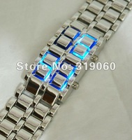 Holiday sales HOT Iron watch Samurai - fashion 2012 Japan wristwatches Inspired Red/blue LED Watch free shipping