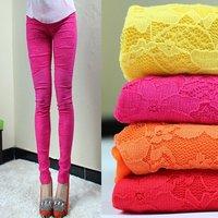 2014 autumn fall new fashion korea chic elastic Cotton lace crochet  flowers leggings capri pants jeans,high quanlity