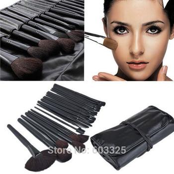High Quality Professional 32pcs Makeup Brushes Cosmetic Set Foundation Eyeshadow Palette Lip Brush Kit Tools + Black Leather Bag