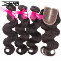 brazilian virgin hair body wave 3pcs bundles with 1pc middle part lace closure human hair extension natural black 1b# TD HAIR