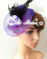 Lady Hair Clip Accessory Wedding Fascinator Mini Top Hat Rose Flower Feather  12 pieces/lot