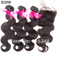 Top Quality TD Hair Products Brazilian Virgin Hair Bundles Body Wave With Lace Closure 4pcs Lot Unprocessed Natural Color 1B