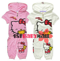 [1st Baby Mall] Retail 1 sets children clothing sets Hello Kitty Pink/white color short sleeves sets M-SSR-006