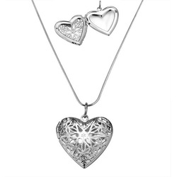 P185 Vintage Sterling Silver 925 Heart Pendant Locket Necklace Photo Frame Pendant Top Quality Free Shipping(China (Mainland))