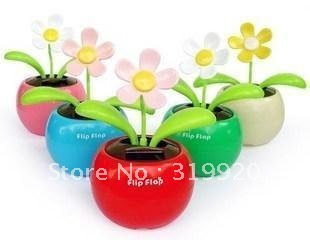 Flip Flap Solar Power Apple Flower Plant/car decoration/dancing/Unique Toys  24pcs Free shipping