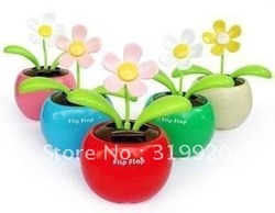 Flip Flap Solar Power Apple Flower Plant/car decoration/dancing/Unique Toys 24pcs Free shipping(China (Mainland))