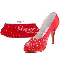 "2014 Fashion Shoes & Bag Set Red EP11021-PF Peep Toe Platform 4"" Stiletto Heel Women Clutch Satin Formal Evening Bag and Pumps"