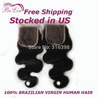 "Hot Sale Cheap Virgin Brazillian Body Wave Hair Lace Top Closure 4x4"" Bleached Knots Middle Part Brazilian Virgin Hair Closure"