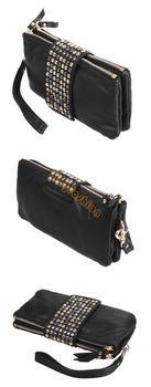Korean Style PU Leather fashion Handbag designer Rivet Lady  wallet Clutch Purse Evening Bag drop shipping 4004