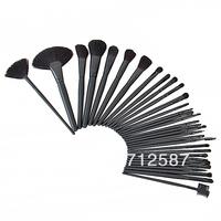 free shipping 32 pcs Makeup Brush Kit Makeup Brushes + Black Leather Case #8154