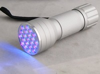 Free shipping 395~410nm UV ultraviolet light led aluminum flashlight D12 UV
