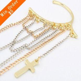 2014 New Fashion Hot-Selling Vintage Earrings HOT Fashion Personality Tassel Cross Ear Cuff Earrings 66E42