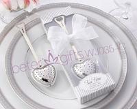 Free Shipping 200box WJ035/C Heart-Shaped Tea Infuser Wedding Decoration, Wedding Gift, Metal Crafts