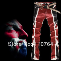 2014 Top Cool Men's English Flag Print Jeans Straight Slim Design Colored Jeans Men Drawing Perfect Pants Free shipping
