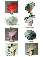 FREE SHIPPING BY EMS.Big Sinamay fascinator sinamay base with ostrich spine,veiling,sequin.8 colors,8pcs/lot