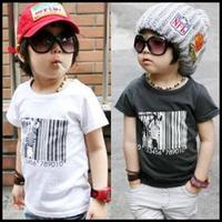 2014 Printed Bar code Zebra Boy's Summer T-shirt Top Short Sleeve Children Boys Kids tshirt  Baby t shirt