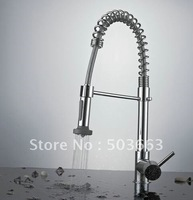 Free Ship  Pull Out Faucet Chrome Water Power Swivel kitchen Sink Mixer Tap CQ0001