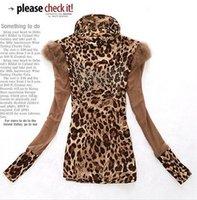 Women's long-sleeve fashion shirt 2012 autumn winter women's basic rhinestones leopard print shirt blouses   Free shipping T259