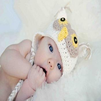 100%Cartoon Designs Handmade Children Crochet Hats Various Animal Styles Baby Owl Beanie hat Kids Flower cap
