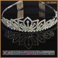 Free Shipping 2012 Fashion Rhinestone Crystal Wedding Bridal Crown Headband Customized