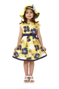 New Girl dress/ Teenage dress for about 5-14 years children/ Yellow dress with bowknot and floral-print