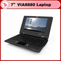 Free shipping New 7 inch via 8880 mini laptop netbook android 4.1  +Webcam + HDMI , RJ45 512MB 4GB mini laptop cheap price