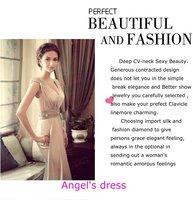 Hot!  New design Sexy V-neck strapless Korean wedding&propose toast&perform temperament evening dress