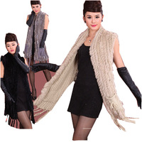 Free shipping Hot sale sweater rabbit fur shawl with pocket knitted rabbit fur vest  best selling poncho fashion fur cape