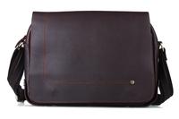 Men Messenger Shoulder Bag Boy Satchel 100% Cowhide Leather Bags Simple Style Dark Brown Color 8479