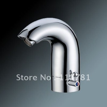 With Adjusting Hot And Cold Water Switch, Deck Mounted Automatic Touchless Chrome Basin Sensor Faucet S1009