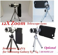 20pcs/lot*Aluminum 12X Optical Zoom Telescope Lens camera kit Tripod For iPhone 44S 5S Samsung Galaxy S3 S4,S5 NOTE 2 3 N9000
