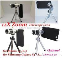 20pcs/lot*Aluminum 12X Optical Zoom Telescope Lens camera kit Tripod For iPhone 6 plus 4S 5S Samsung Galaxy S3 S4 S5 NOTE 2 3 4