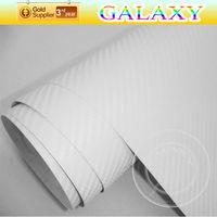 Free shipping by fedex 1.52x30m  White 3d carbon fiber vinyl sheet film car sticker with air drain