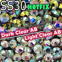 SS30 288pcs/Bag Clear AB Crystal DMC HotFix FlatBack Glass Rhinestones strass,DIY iron on garment Hot Fix crystals glitter stone