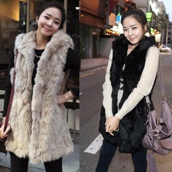 2013 autumn winter women fashion imitation rabbit fur with a hooded fur vest coat long vest Black/Apricot 36